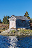 Boathouse on salt pond, Chilmark, Martha's Vineyard, Massachusetts, USA