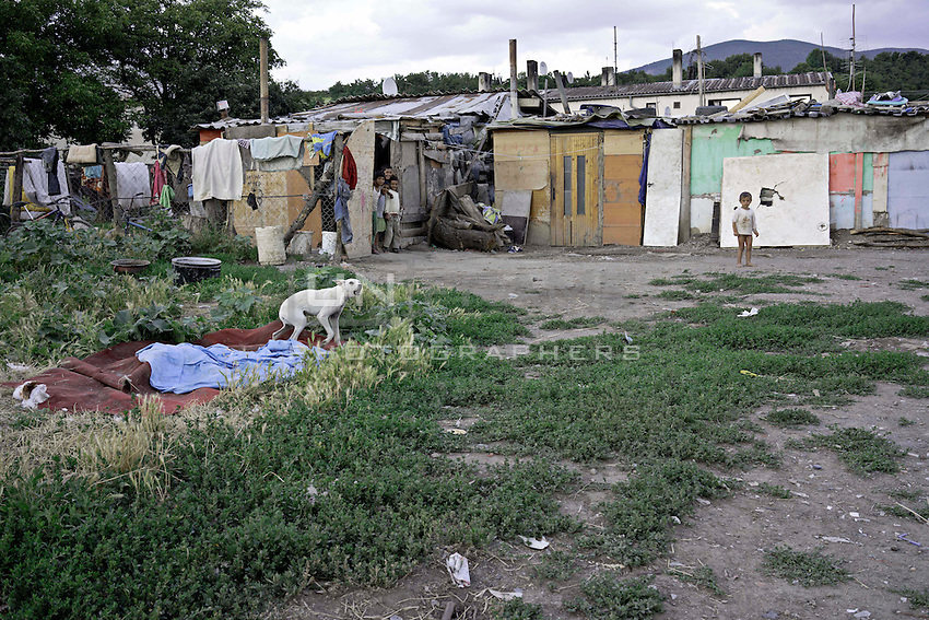 A Roma village in Nižná Mysla. The people are living in huts contracted by themselves.