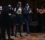 """Nan Knighton, Frank Wildhorn and Gabriel Barre with cast performing during the MCP Production of """"The Scarlet Pimpernel"""" Concert at the David Geffen Hall on February 18, 2019 in New York City."""