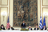 Pictured: US President Barack Obama addresses the banquet attendees. Tuesday 15 November 2016<br /> Re: US President Barack Obama attends official stat banquet at the Presidential Mansion during his visit to Athens Greece