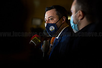 Rome, Italy. 09th Feb, 2021. Matteo Salvini MP, leader of Lega Party Party leaves the Italian Parliament after meeting the designated Italian Prime Minister - and former President of the European Central Bank -, Mario Draghi. Today is the last day of Mario Draghi's consultations at Palazzo Montecitorio, meeting delegations of the Italian political parties in his attempt to form the new Italian Government.