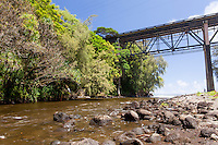 Large bridge over Kolekole Stream at Kolekole Beach Park in Honomu, Big Island.