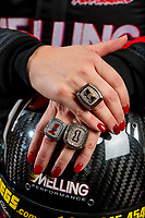 Feb 6, 2020; Pomona, CA, USA; Detailed view of three world championship rings on the fingers of NHRA pro stock driver Erica Enders poses for a portrait during NHRA Media Day at the Pomona Fairplex. Mandatory Credit: Mark J. Rebilas-USA TODAY Sports