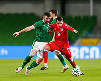 27th March 2021; Aviva Stadium, Dublin, Leinster, Ireland; 2022 World Cup Qualifier, Ireland versus Luxembourg; Danel Sinani of Luxembourg in action against Enda Stevens of Ireland