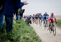 eventual race winner Philippe GILBERT (BEL/Deceuninck-Quick Step) in the pack over the first few cobbled sectors<br /> <br /> 117th Paris-Roubaix 2019 (1.UWT)<br /> One day race from Compiègne to Roubaix (FRA/257km)<br /> <br /> ©kramon