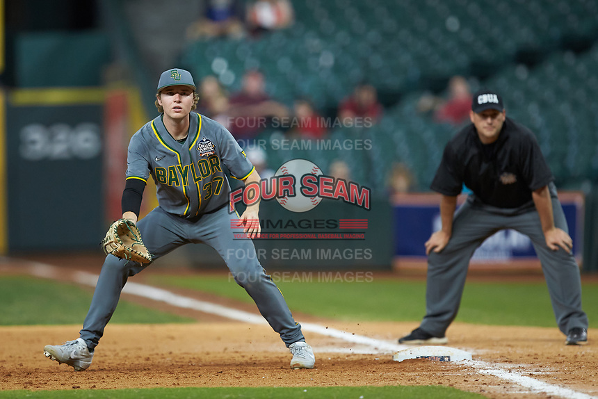 Baylor Bears first baseman Chase Wehsener (37) on defense against the Arkansas Razorbacks in game nine of the 2020 Shriners Hospitals for Children College Classic at Minute Maid Park on March 1, 2020 in Houston, Texas. The Bears defeated the Razorbacks 3-2. (Brian Westerholt/Four Seam Images)