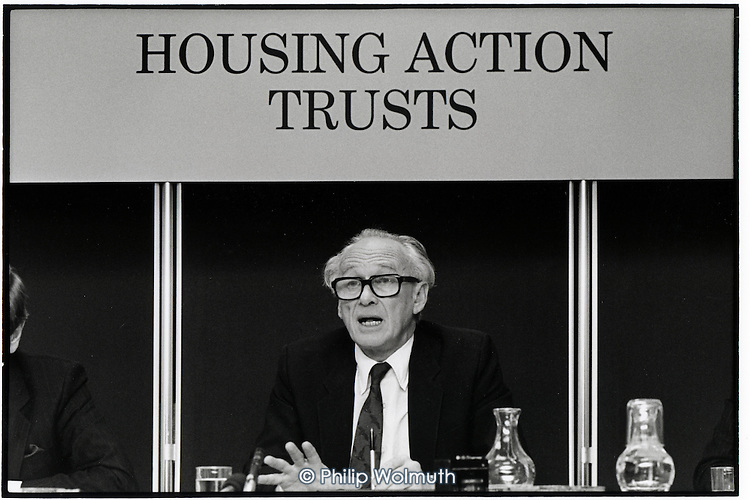 Nicholas Ridley, Secretary of State for the Environment, announces changes to the controversial Hopusing Action Trust (HAT) programme after a vigorous national campain by tenants.