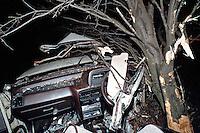 Remains of crashed car after road traffic accident, the vehicle has been cut apart by firefighters using hydraulic cutting tools extricate the driver.. .© SHOUT. THIS PICTURE MUST ONLY BE USED TO ILLUSTRATE THE EMERGENCY SERVICES IN A POSITIVE MANNER. CONTACT JOHN CALLAN. Exact date unknown.john@shoutpictures.com.www.shoutpictures.com....