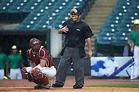 Home plate umpire Olindo Mattia makes a call in the game between the Florida State Seminoles against the Notre Dame Fighting Irish in Game Four of the 2017 ACC Baseball Championship at Louisville Slugger Field on May 24, 2017 in Louisville, Kentucky. The Seminoles walked-off the Fighting Irish 5-3 in 12 innings. (Brian Westerholt/Four Seam Images)