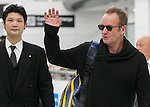 Chiba, Japan - British singer-songwriter Sting (Gordon Matthew Thomas Sumner) (R) waves to fans upon his arrival at Narita International Airport in Chiba, Japan on November 27, 2016. Sting is in Japan to promote his twelfth solo studio album 57th & 9th. (Photo by AFLO)
