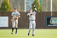 Virginia Commonwealth Rams second baseman Jordan Weymouth (6) makes a catch in shallow right field against the Charlotte 49ers at Robert and Mariam Hayes Stadium on March 30, 2013 in Charlotte, North Carolina.  The Rams defeated the 49ers 4-3 in game two of a double-header.  (Brian Westerholt/Four Seam Images)