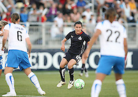 Lisa De Vanna #17 of the Washington Freedom confronts Amy LePelbet #6 and Alex Scott #22 of the Boston Breakers during a WPS match at the Maryland Soccerplex, in Boyd's, Maryland, on April 18 2009. Breakers won the match 3-1.