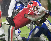 ATHENS, GA - OCTOBER 19: D'Andre Swift #7 of the Georgia Bulldogs scores Georgia's third touchdown during a game between University of Kentucky Wildcats and University of Georgia Bulldogs at Sanford Stadium on October 19, 2019 in Athens, Georgia.