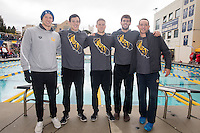 BERKELEY, CA - Feb. 18, 2017: Cal's Ryan Murphy, Long Gutierrez, Hunter Cobleigh, Jonathan Fiepke and Dillon Williams on Senior Day.  Cal Men's Swimming and Diving competed against Stanford at Spieker Aquatics Complex.