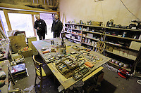 Pictured L-R: Guardian Art correspondent Mark Brown and Anthony Plant of the Sidney Nolan Trust, in the artist's studio  Friday 02 December 2016<br /> The Sidney Nolan Trust, Rodd, Herefordshire, England, UK