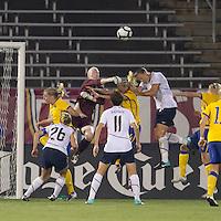 Sweden goalkeeper Hedvig Lindahl (1) in the mix. The US Women's national team beat Sweden, 3-0, at Rentschler Field on July 17, 2010.
