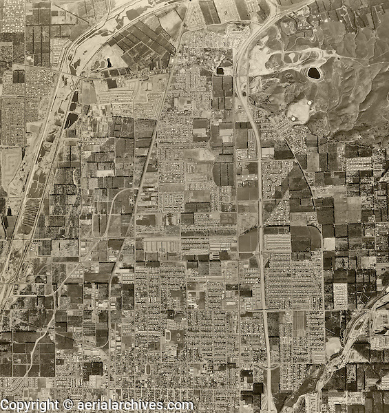 historical aerial photograph of Orange, California, 1963