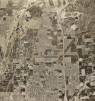historical aerial photograph of Orange, California, 1963