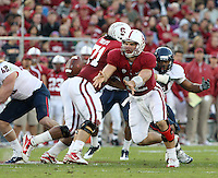 STANFORD, CA - November 6, 2010: Andrew Luck pitches during a 42-17 Stanford win over the University of Arizona, in Stanford, California.
