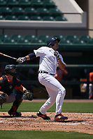Detroit Tigers Reynaldo Rivera (35) bats during a Minor League Spring Training game against the Baltimore Orioles on April 14, 2021 at Joker Marchant Stadium in Lakeland, Florida.  (Mike Janes/Four Seam Images)