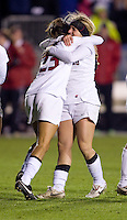 Camille Levin (2) of Boston College celebrates her goal with teammate Christen Press (23) during the second game of the NCAA Women's College Cup at WakeMed Soccer Park in Cary, NC.  Stanford defeated Boston College, 2-0.