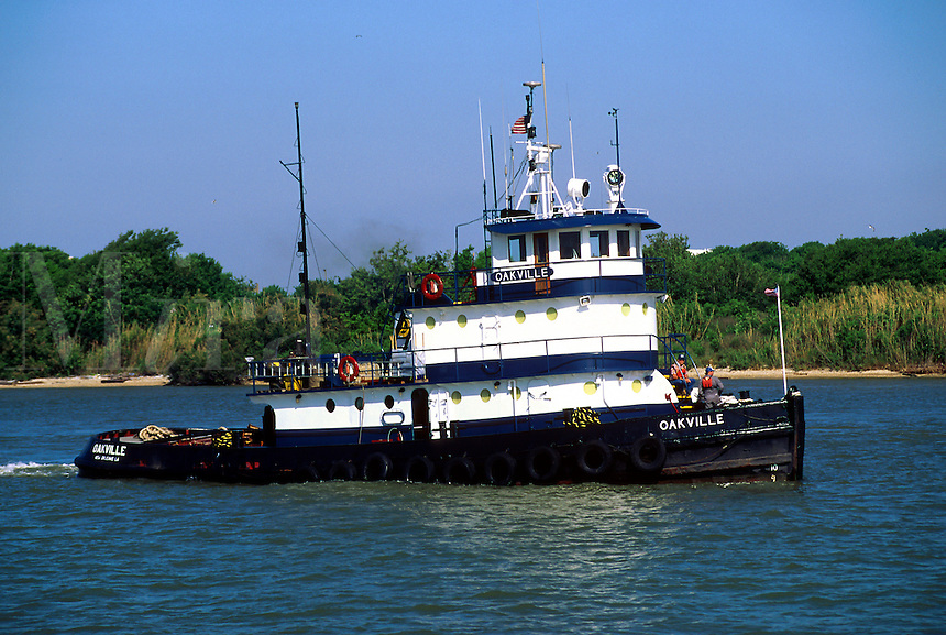 A tug boat underway. Houston Shipping Channel, Texas.