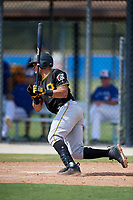 Pittsburgh Pirates designated hitter Deon Stafford (86) follows through on a swing during a Florida Instructional League game against the Toronto Blue Jays on September 20, 2018 at the Englebert Complex in Dunedin, Florida.  (Mike Janes/Four Seam Images)