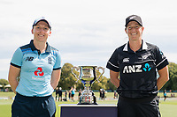23rd February 2021, Christchurch, New Zealand;  Heather Knight (c) of England and Sophie Devine of New Zealand, during the 1st ODI Cricket match, New Zealand versus England,Hagley Oval, Christchurch, New Zealand