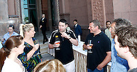 Photo: Richard Lane/Richard Lane Photography. London Wasps in Abu Dhabi for their LV= Cup game against Harlequins on 30th January 2011. 30/01/2011. Steve Hayes with Wasps supporters drinks at the Emirates Palace Hotel.