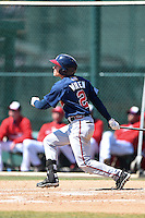 Atlanta Braves outfielder Kyle Wren (2) during a minor league spring training game against the Washington Nationals on March 26, 2014 at Wide World of Sports in Orlando, Florida.  (Mike Janes/Four Seam Images)