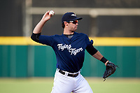 Lakeland Flying Tigers third baseman Zac Shepherd (4) throws to first base during a game against the Jupiter Hammerheads on April 17, 2017 at Joker Marchant Stadium in Lakeland, Florida.  Lakeland defeated Jupiter 5-1.  (Mike Janes/Four Seam Images)