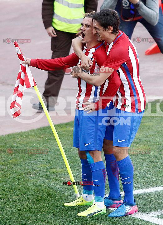 Atletico de Madrid's Antoine Griezmann and Stefan Savic celebrate goal during La Liga match. March 19,2017. (ALTERPHOTOS/Acero) /NORTEPHOTO.COM