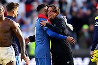 3rd October 2021;   City of London Stadium, London, England; EPL Premier League football, West Ham versus Brentford; Brentford Manager Thomas Frank celebrates the 1-2 win with David Raya