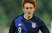 ST. GALLEN, SWITZERLAND - MAY 30: Josh Sargent #9 of the United States eyes on the ball during a game between Switzerland and USMNT at Kybunpark on May 30, 2021 in St. Gallen, Switzerland.