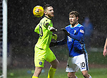 St Johnstone v Motherwell…15.12.18…   McDiarmid Park    SPFL<br />David Wotherspoon attempts to get the ball from Motherwell keeper Mark Gillespie<br />Picture by Graeme Hart. <br />Copyright Perthshire Picture Agency<br />Tel: 01738 623350  Mobile: 07990 594431