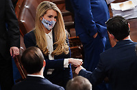 United States Senator Kelly Loeffler (Republican of Georgia) arrives for the Electoral College vote certification for President-elect Joe Biden, during a joint session of Congress at the U.S. Capitol in Washington, DC on Wednesday, January 6, 2021.<br /> CAP/MPI/RS<br /> ©RS/MPI/Capital Pictures