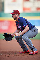 Lehigh Valley IronPigs first baseman Brock Stassi (10) during a game against the Buffalo Bisons on July 9, 2016 at Coca-Cola Field in Buffalo, New York.  Lehigh Valley defeated Buffalo 9-1 in a rain shortened game.  (Mike Janes/Four Seam Images)