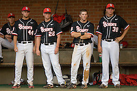 The St. John's Red Storm bench watches the action against the Virginia Cavaliers in the championship game of the Charlottesville Regional at Davenport Field on June 7, 2010, in Charlottesville, Virginia.  The Cavaliers defeated the Red Storm 5-3.  Photo by Brian Westerholt / Four Seam Images