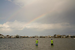 Rainbow fishing father and son