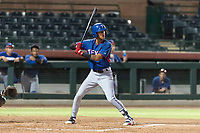 AZL Rangers centerfielder Obie Ricumstrict (24) at bat during an Arizona League game against the AZL Giants Black at Scottsdale Stadium on August 4, 2018 in Scottsdale, Arizona. The AZL Giants Black defeated the AZL Rangers by a score of 6-3 in the second game of a doubleheader. (Zachary Lucy/Four Seam Images)