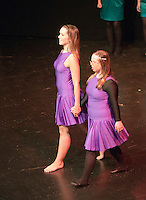 """Katherine Morland and choreographer, Hannah Greenslade, dancing to """"The Flame of Hope"""".  Special Olympics Surrey put on a show,   """"Beyond the Stars"""", at the Rose Theatre, Kingston upon Thames to raise money for the  SOGB team.  The Special Olympics are for athletes with learning disabilities."""
