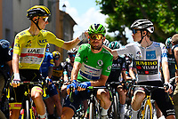 8th July 2021; Nimes, France; POGACAR Tadej (SLO) of UAE TEAM EMIRATES, CAVENDISH Mark (GBR) of DECEUNINCK - QUICK-STEP, VINGEGAARD Jonas (DEN) of JUMBO-VISMA during stage 12 of the 108th edition of the 2021 Tour de France cycling race, a stage of 159,4 kms between Saint-Paul-Trois-Chateaux and Nimes.