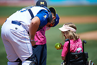 Wilmington Blue Rocks catcher Chase Vallot (13) signs autographs for two young fans before the first game of a doubleheader against the Frederick Keys on May 14, 2017 at Daniel S. Frawley Stadium in Wilmington, Delaware.  Wilmington defeated Frederick 10-2.  (Mike Janes/Four Seam Images)