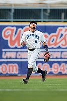 Lake County Captains left fielder Todd Isaacs (6) settles under a fly ball during the first game of a doubleheader against the South Bend Cubs on May 16, 2018 at Classic Park in Eastlake, Ohio.  South Bend defeated Lake County 6-4 in twelve innings.  (Mike Janes/Four Seam Images)