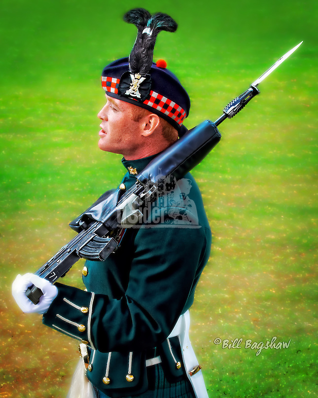 The Royal guard attended the 2013 Ballater Highland Games. The Queens Royal Guard is a ceremonial guard but it also includes soldiers armed with machine guns. www.dsider.co.uk, copyright, Ballater.