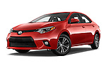 Stock pictures of low aggressive front three quarter view of 2016 Toyota Corolla LE Plus 4 Door Sedan Low Aggressive