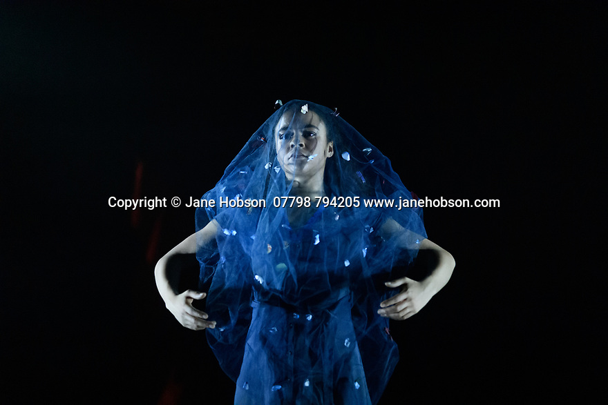 """London, UK. 27.02.20. Mark Bruce Company presents """"Return to Heaven"""", at Wilton's Music Hall. Written and choreographed by Mark Bruce, with costume design by Dorothee Brodruck, lighting design by Guy Hoare, and set design by Phil Eddolls. The dancers are: Jordi Calpe-Serrats, Eleanor Duval, Carina Howard, Dane Hurst, Sharol Mackenzie, Christopher Thomas. Picture shows: Sharol Mackenzie. Photograph © Jane Hobson."""