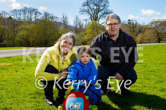 Enjoying a stroll in the Demesne in Killarney on Saturday, l to r: Matthew, Siobhan Ashe Foley and Ciaran Foley.