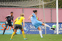 Yael Averbuch (13) of Sky Blue FC shoots and scores on Philadelphia Independence goalkeeper Karina LeBlanc (23). Sky Blue FC defeated the Philadelphia Independence 1-0 during a Women's Professional Soccer (WPS) match at Yurcak Field in Piscataway, NJ, on August 22, 2010.