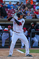Wisconsin Timber Rattlers outfielder Joantgel Segovia (5) at bat during a Midwest League game against the Quad Cities River Bandits on April 8, 2017 at Fox Cities Stadium in Appleton, Wisconsin.  Wisconsin defeated Quad Cities 3-2. (Brad Krause/Four Seam Images)